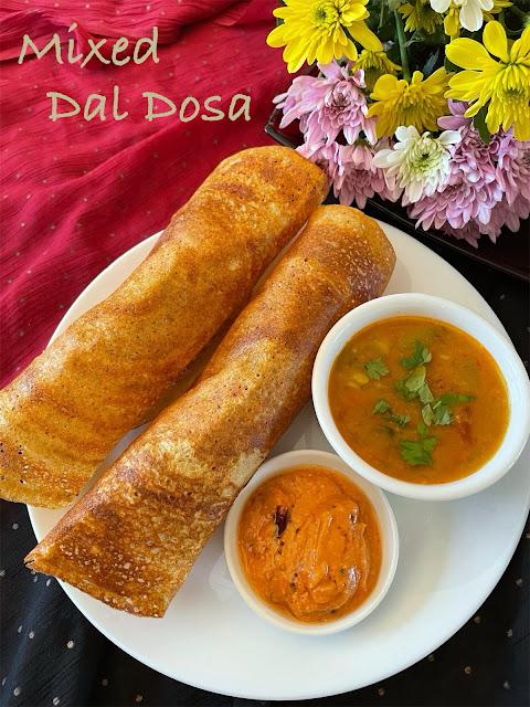Mixed Dal Dosa ~ Mixed Lentil Dosa