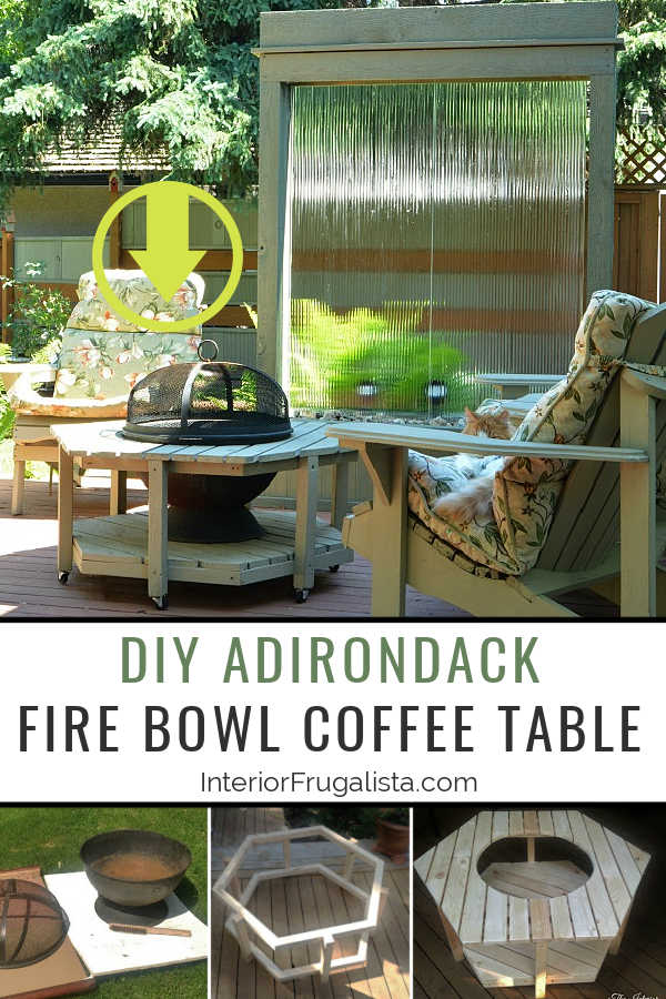 A budget-friendly DIY Adirondack Fire Bowl Coffee Table for a patio or deck with a unique hexagon pallet style for those cool summer evenings outdoors. #diyfirebowltable #diytabletopfirepit #diyoutdoorfurniture