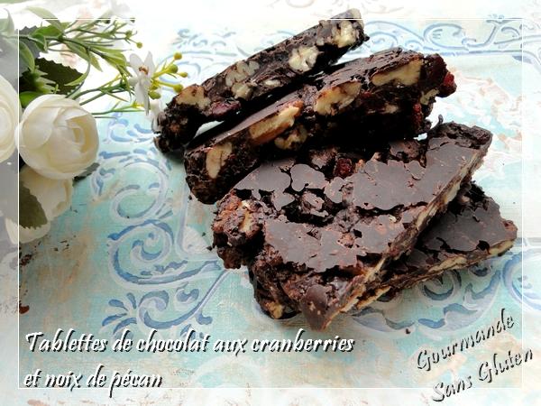 Tablettes de chocolat aux cranberries et noix de pécan