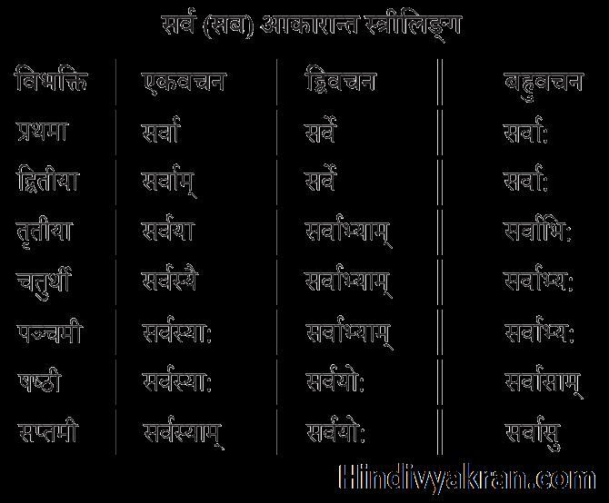 सर्व शब्द रूप स्त्रीलिंग संस्कृत में – Sarv Shabd Roop Striling In Sanskrit