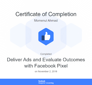 Facebook Pixel, Facebook Ads certificate of completion for Momenul Ahmad