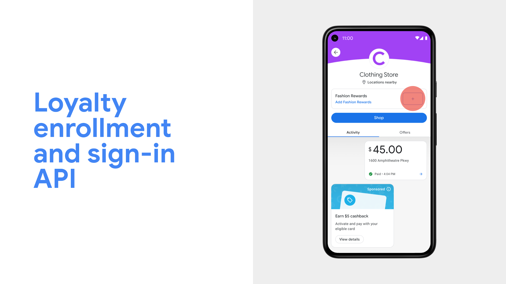 Loyalty enrollment and sign-in API