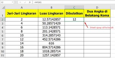 Cara Membulatkan Bilangan di Excel