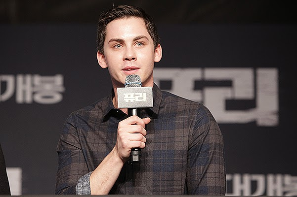 Logan Lerman in a press conference in Seoul