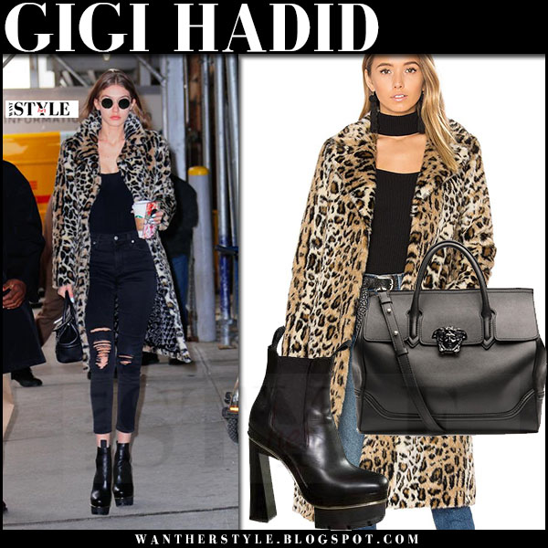 Gigi Hadid in leopard print majorelle fifi coat, black ripped jeans, black platform versace boots and black bag versace palazzo empire what she wore