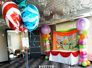 Candy Land cake table backdrop and balloon columns