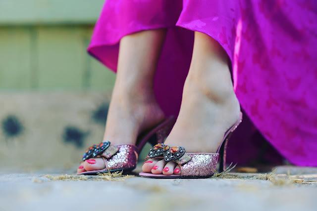 sparkly glitter pink victorian hale bob heels