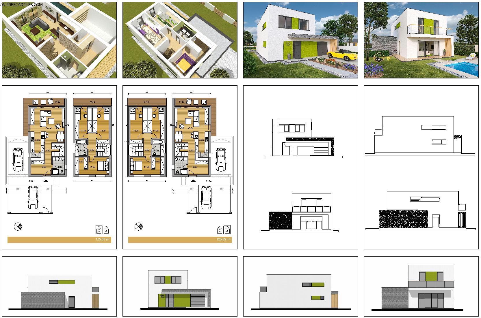 Family house 120 mq [DWG,PDF,JPG]