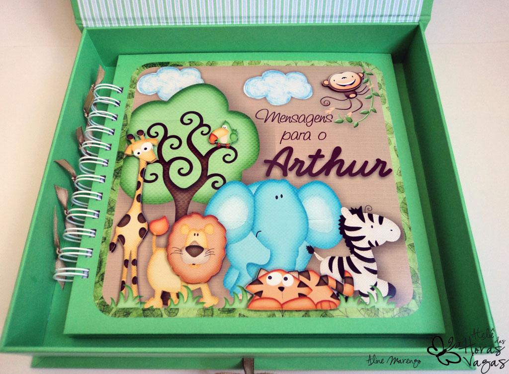 kit livro álbum de mensagens recados nascimento safari caixa