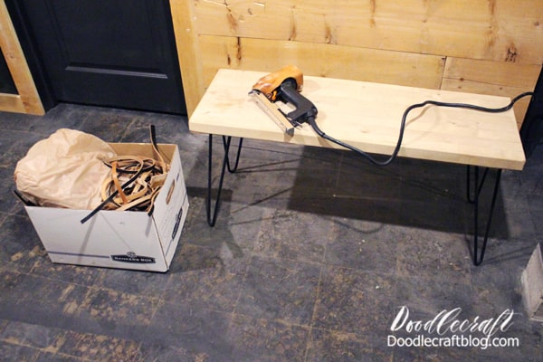 Supplies Needed for Woven Leather Bench with Hairpin Legs: Hairpin Legs (I love DIY Hairpin Legs) Leather Strips  Wood Bench Seat DuoFast Staple Gun/Staples Heavy Duty Scissors