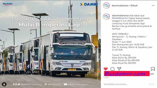 Harga Tiket Damri Jakarta Lampung Saat New Normal