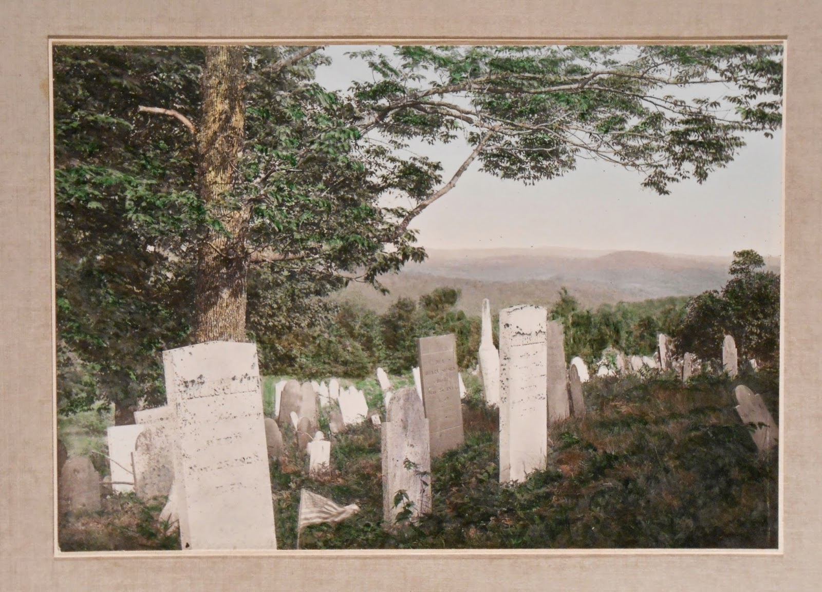 A color photograph of a graveyard.
