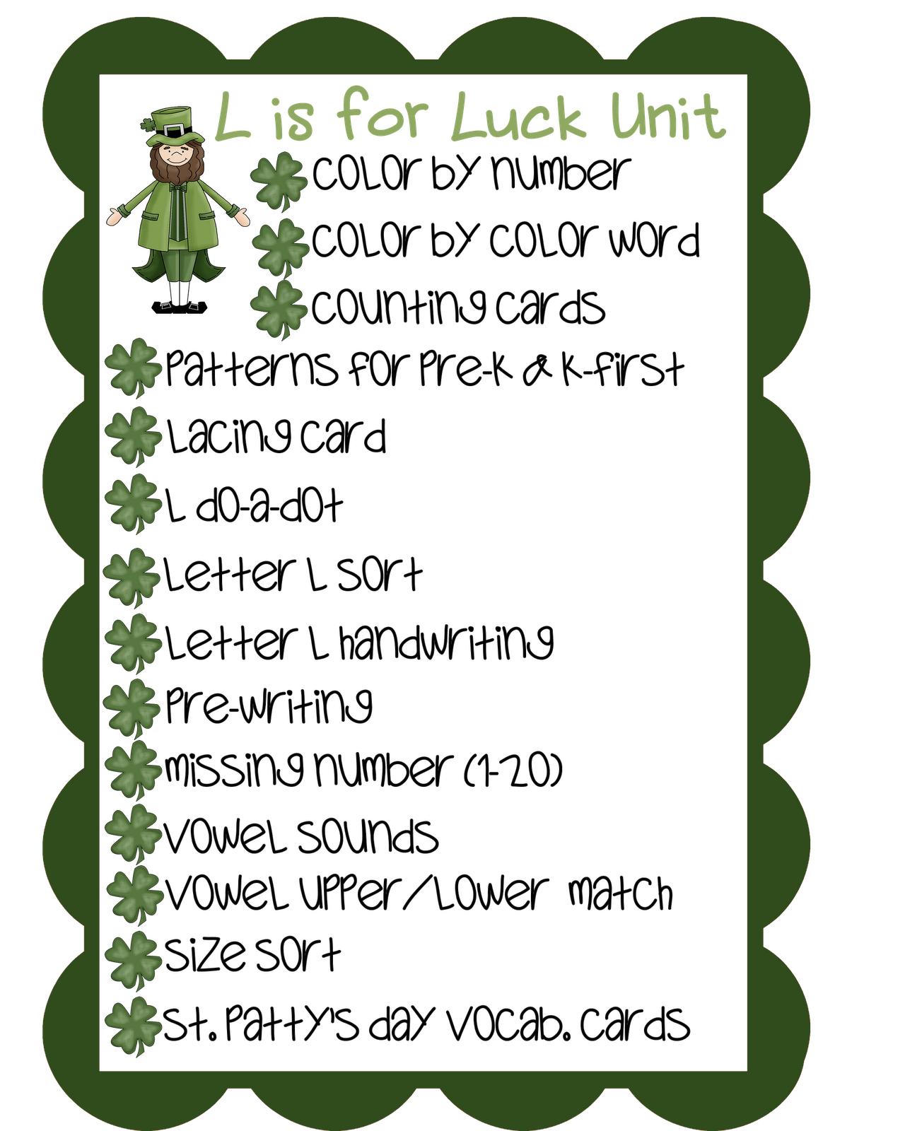Pixie Chicks St Patty S Day Unit Updated