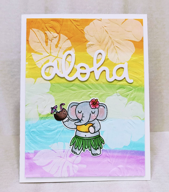 Sunny Studio Stamps: Tiki Time Customer Card by Joanne Marie Travis