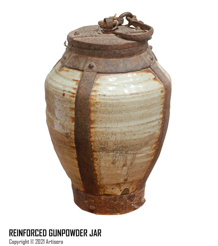 gunpowder jar, reinforced with metals for storage and logistics purposes