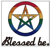 Rainbow pentacle with the words Blessed Be under it
