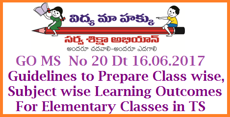 GO MS No 20 Guidelines to Prepare Class Wise Subject wise Learning Outcomes for all Elementary Classes go-ms-no-20-guidelines-to-prepare-class-subject-learning-outcomes Changes in CCE Method | Instructions to prepare Class wisw Subject wise Learning Outcomes for Classes 1st to 8th Classes | CCE should be used to achieve the decided Learning Outcomes by the Teachers in Telangana School Education – The Telangana Right of Children to Free and Compulsory Education Rules,2010 – Amendment – Notification - Orders – issued.