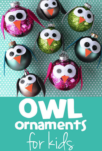Glitzy owl ornaments for kids to make for Christmas gifts. Salt dough ornament gifts for kids to make for Christmas. Easy Low Prep Christmas Gifts Kids Can Make! A collection of 10 Christmas gifts for kids to make for their parents. Fast, inexpensive and relatively low prep. You're gonna love 'em!  #christmas #christmasgifts #christmasgiftskidsmake