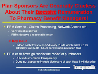 Hidden cash flows to non-fiduciary PBMs make up for artificially low administrative fees