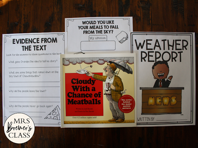 Cloudy With a Chance of Meatballs book study activities unit with Common Core aligned literacy companion activities Kindergarten & First Grade