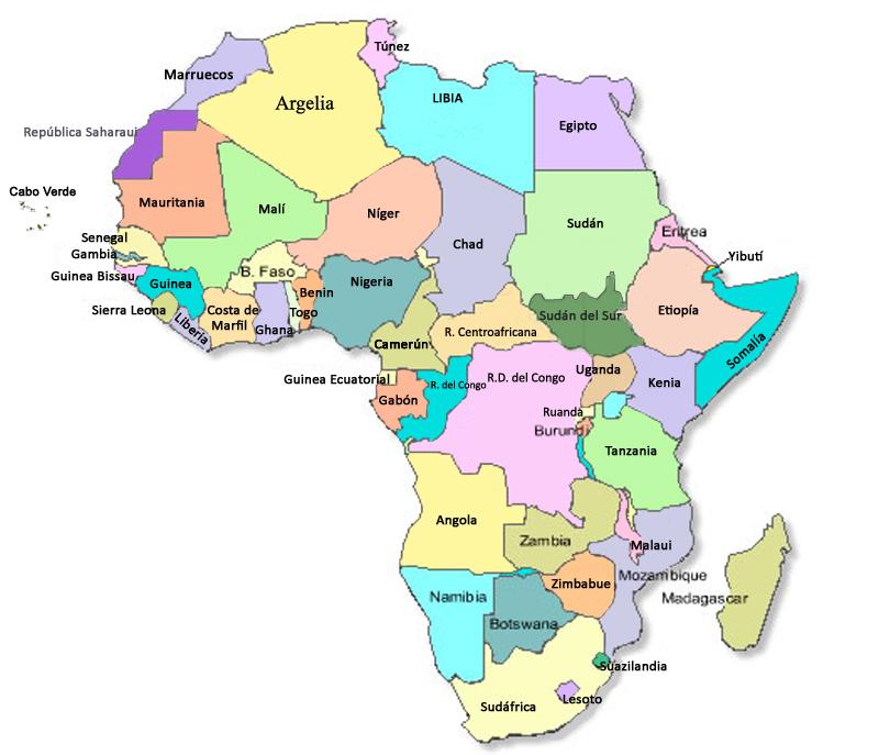 Mapa Politico De Africa En Español.Me Gustan Las Sociales Africa Mapa Politico