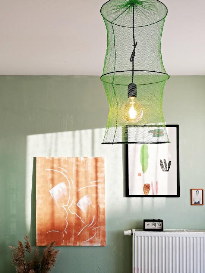 Pokochaj zieleń, której nikt nie kocha (oraz lampa z rybackiej siatki).