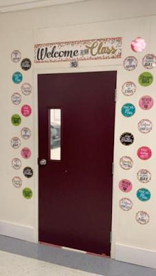 Confetti themed classroom door