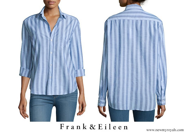 Meghan Markle wore Frank & Eileen Eileen Long Sleeve Striped Chambray Blouse