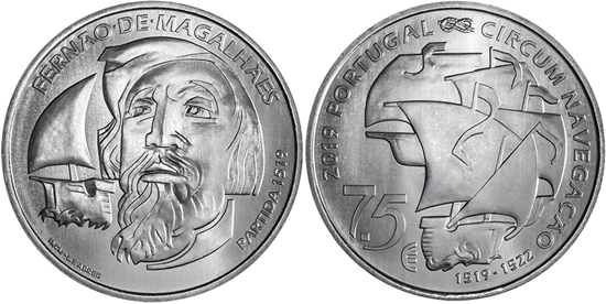 Portugal 7.5 euro coin 2019 Ferdinand Magellan
