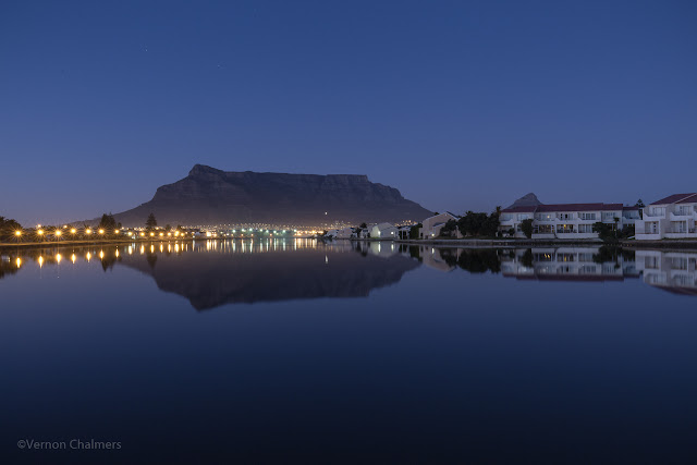 Table Mountain over the Milnerton Lagoon - Woodbridge Island is to the right