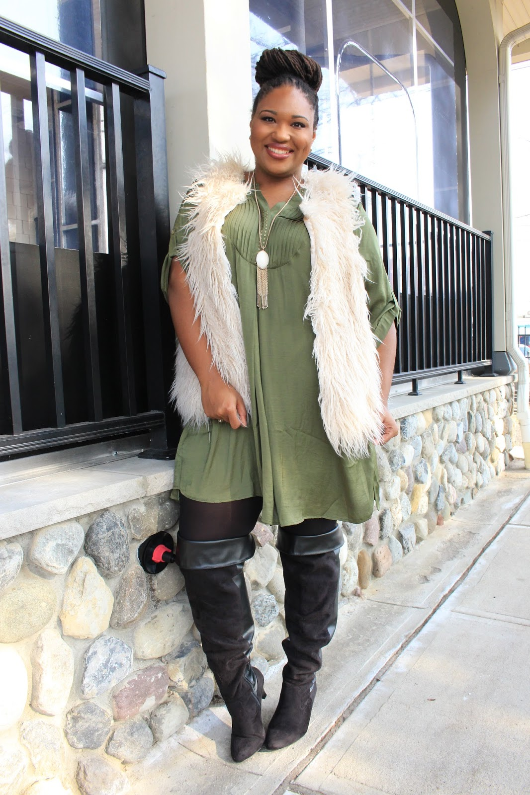 bb7083541c433 How to style faux fur and thigh high boots ...