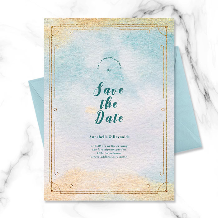 Blue Border Gold Foil Watercolor Bloom Gradient Wedding Invitation