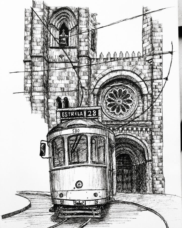 04-Tram-and-Cathedral-Lisbon-Architectural-Drawings-Henk-Jan-www-designstack-co