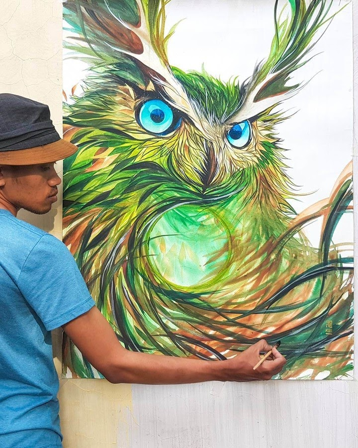 01-Owl-LR-Mulyono-Watercolor-Paintings-www-designstack-co