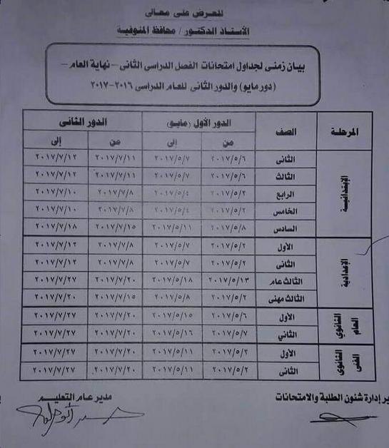 جدول مواعيد امتحانات آخر العام 2017 بمحافظة المنوفية - الفصل الدراسى الثانى