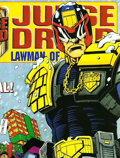 Judge Dredd covered in winter snow.