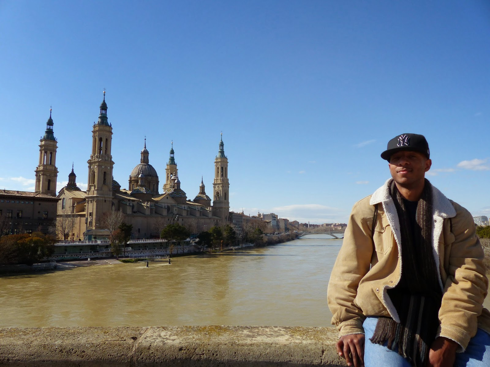 The basilica and I, overlooking a flooded El Ebro