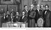 Detail, 'General Conference of the Methodist Episcopal Church, South, convened in Nashville, Tennessee, on the first day of May 1858' (c1860). Mezzotint based on drawing by A.F. Bellows, retrieved 2021 from the Library of Congress.