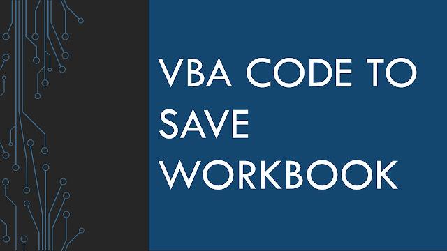 VBA code to save workbook