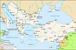 Mapa del Imperio Bizantino en uno de sus periodos