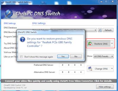 Klik pada opsi 'Ubah DNS'