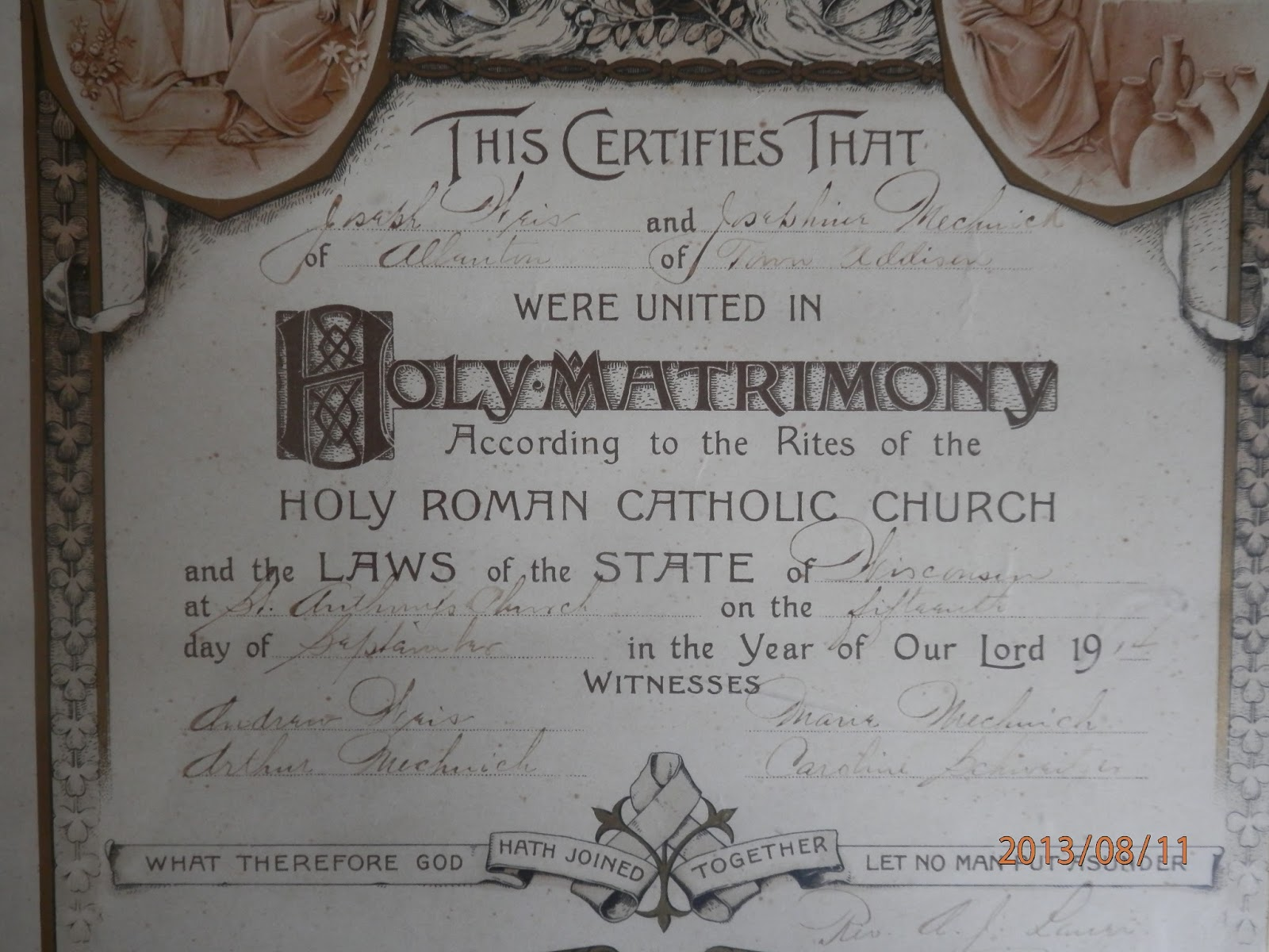 marriage certificate catholic church yesteryear forevers denomination mc actually states