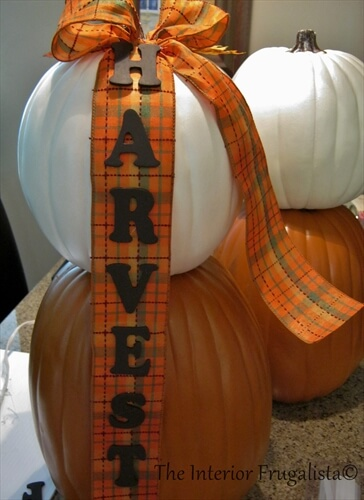 Faux Stacked Pumpkins Fall Ribbon