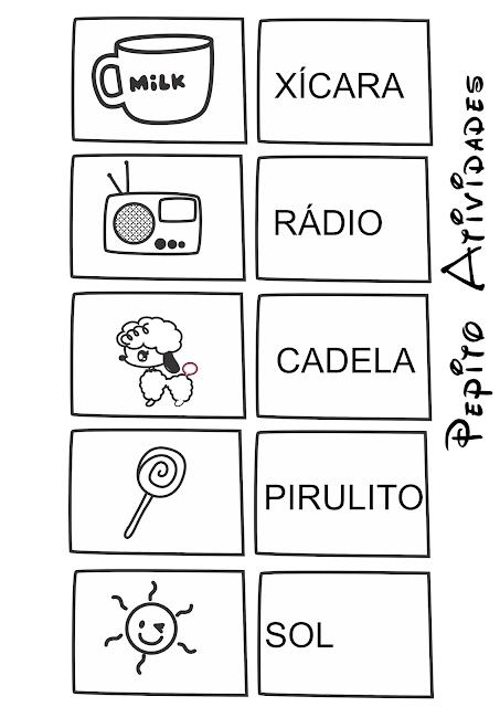 Cards para jogo figura palavra alfabetização