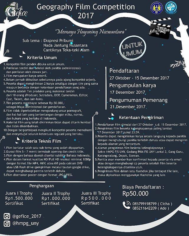 Geography Film Competition 2017 Untuk Umum | Univ. Negeri Yogyakarta | Deadline 15 Desember 2017