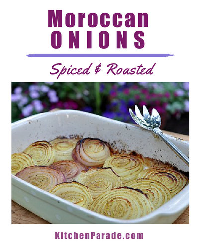 Moroccan Onions ♥ KitchenParade.com, sliced, spiced and roasted onions, easy to make for one or two or a crowd. Simple but gorgeous!