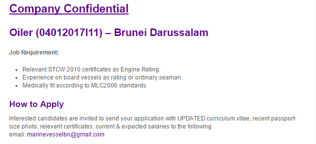 Oil &Gas Vacancies: Oiler – Brunei Darussalam