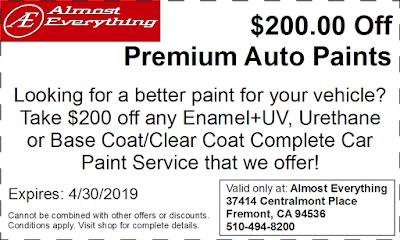 Discount Coupon $200 Off Premium Auto Paint Sale April 2019