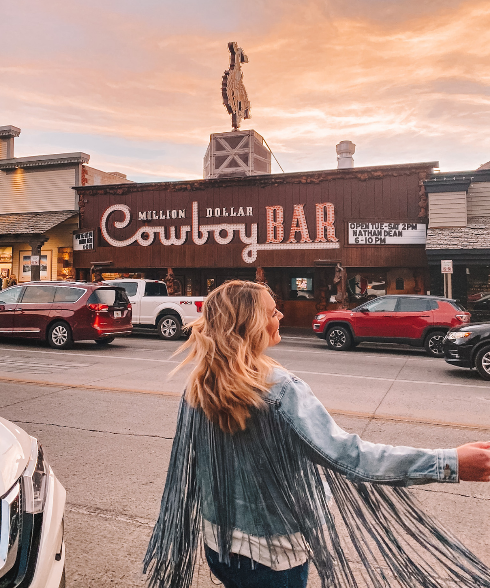 The Million Dollar Cowboy Bar is an Iconic photo spot in Jackson Wyoming