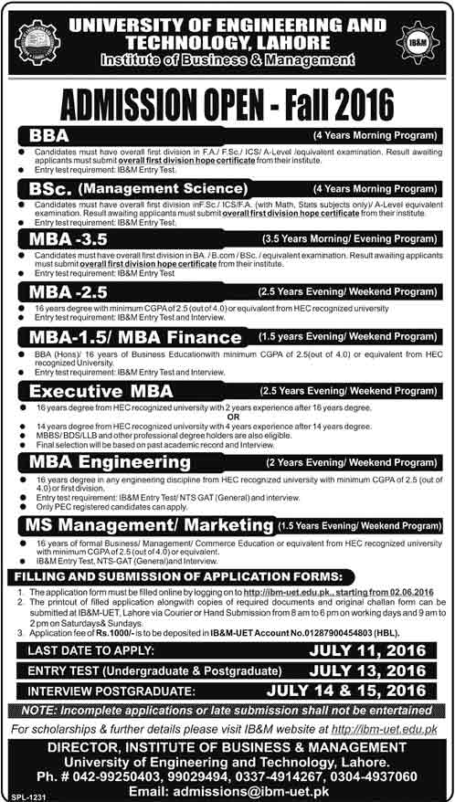 Admission Open Fall 2016 UET Lahore for Graduate , post Graduate and MS programs